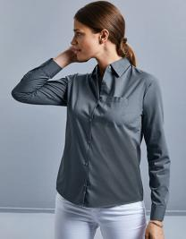 Ladies` Long Sleeve Classic Polycotton Poplin Shirt